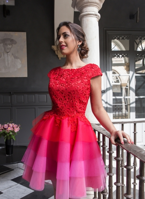 Red Homecoming Dresses Lace Top Capped Sleeves Multi Colors Short Cocktail Dress