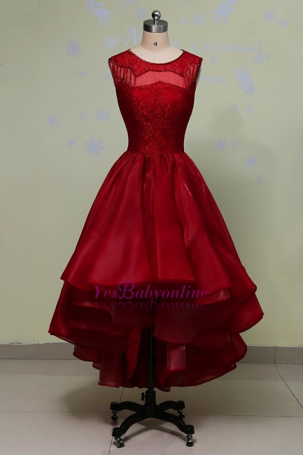 Glamorous Hi-Lo Red Prom Dress Sleeveless Sequins Lace Evening Gowns