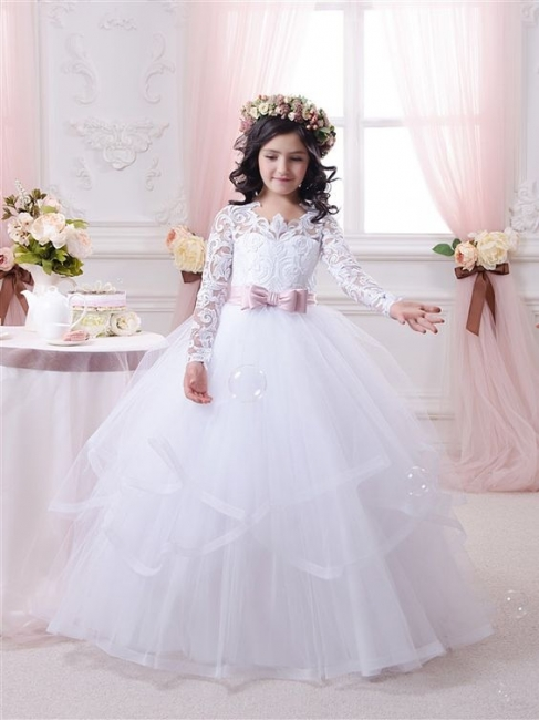 New Arrival Ball Gown Lace-Appliques Long-Sleeves Flower-Girl-Dresses