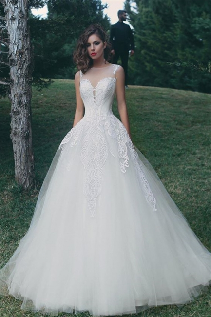 Glamorous A-Line Appliques Bridal Gowns Sleeveless Tulle Wedding Dresses
