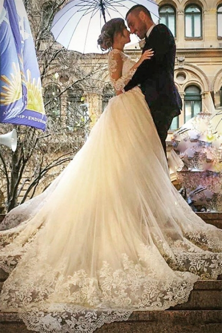 Elegant Tulle Long Sleeves V-Neck Appliques Wedding Dresses with Detachable OverSkirt