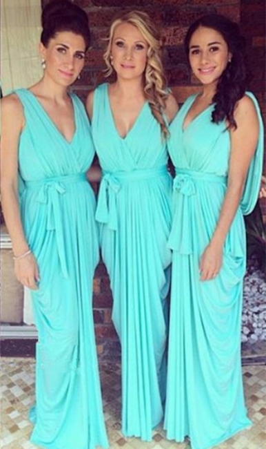 Simple V-Neck Sheath Bridesmaid Dress Chiffon Ruffles Open-Back Party Dress