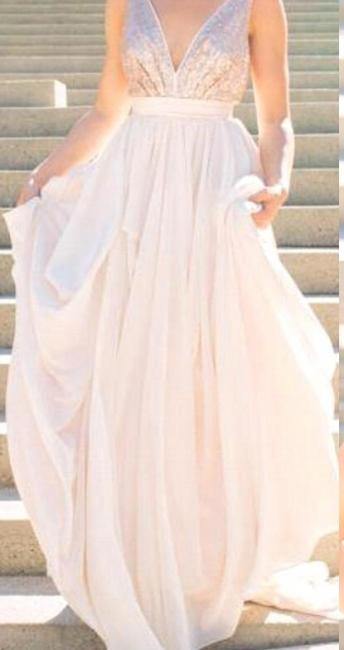 V neck Chiffon Sequins Backless Formal Prom Dresses