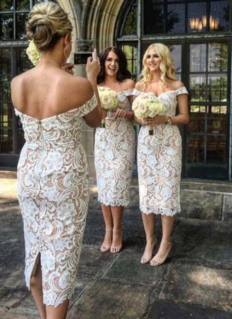 Off-the-Shoulder Bridesmaid Dresses | Lace Sheath Tea Length Maid of the Honor Dresses