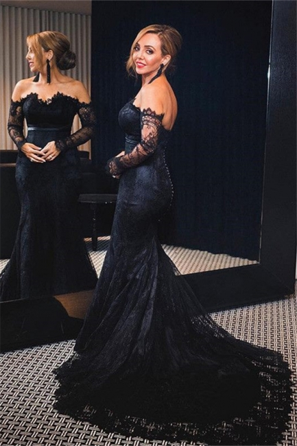 Off-shoulder Long Sleeves V-neck Lace Sweep-train Mermaid Prom Dresses