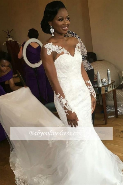 Nigeria Long Sleeves Sheer-Neck Illusion Appliques Jewel Mermaid Lace Wedding Dresses