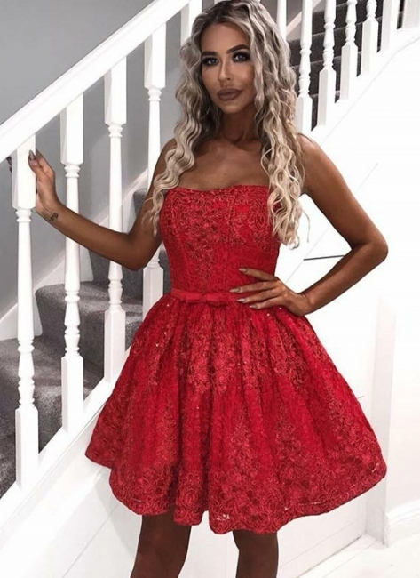 Elegant A-Line Lace Homecoming Dresses | Sexy Strapless Short Cocktail Dresses