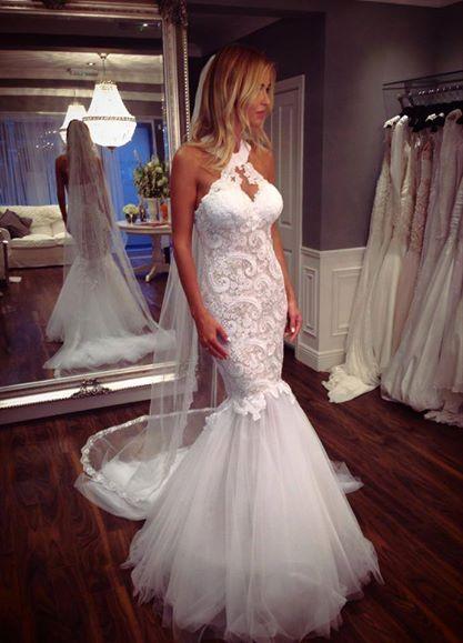 Tulle Sleeveless Halter Lace Elegant Mermaid Wedding Dress