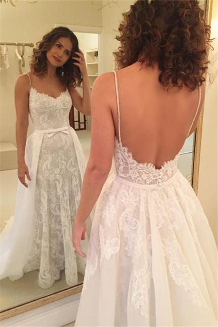 Sexy Sheath Backless Appliques Spaghetti-Straps Wedding Dresses