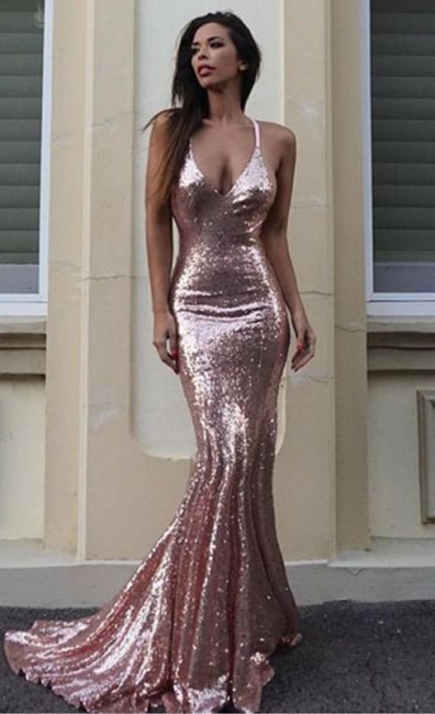 Sequins V-Neck Mermaid Sequins Gorgeous Prom Dress