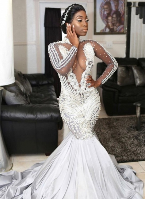 Sexy Silver Sheer Evening Gowns | Long Sleeves Beading Mermaid Prom Dresses