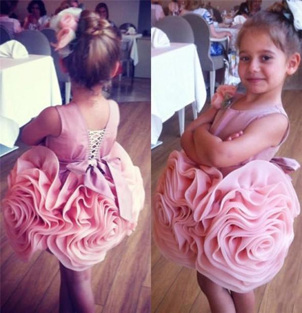 Short Flower Girl's Dresses Ruffles Flower Skirt Pink Cute Girl's Formal Party Dresses