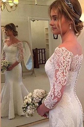 Off-the-shoulder Mermaid 3/4 Sleeves Wedding Dress with Buttons