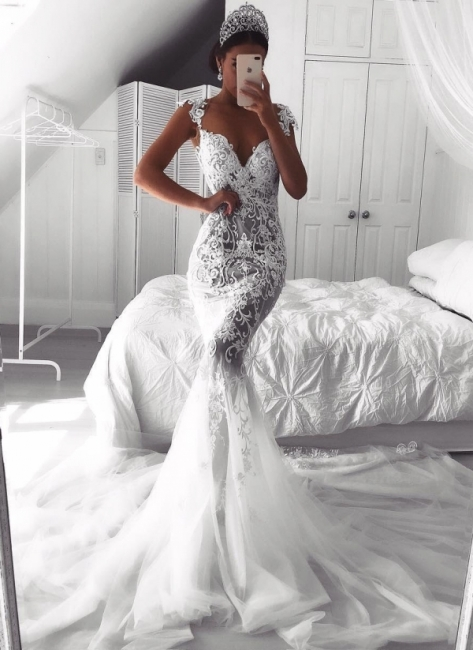 Sexy Lace Mermaid Wedding Dresses   See-Through Cap Sleeves Tulle Bridal Gowns