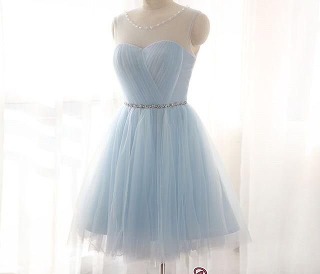 Illusion Sleeveless A-line Newest Tulle Beads Mini Homecoming Dress