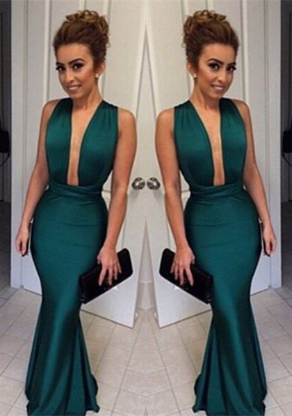 Dark Green Mermaid Prom Dresses Deep V Neck Long Sexy Evening Gowns