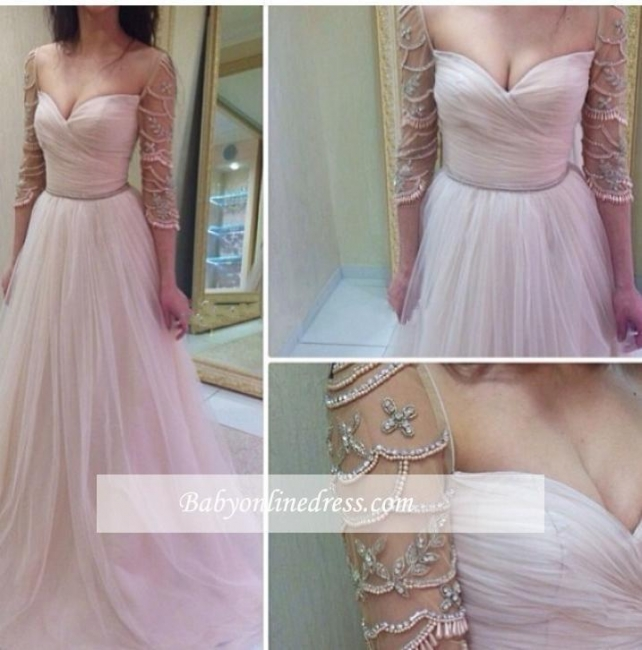 2018 Delicate Sleeves Ruffles Sweetheart A-Line Tulle Prom Dresses with Beadings