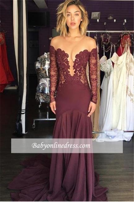 Tulle Chiffon Lace Burgundy Scoop Elegant Long-Sleeve Sheer Evening Dress