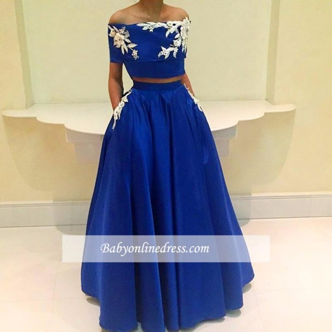 Royal Blue Two Pieces Appliques A-Line Off-the-Shoulder Prom Dress