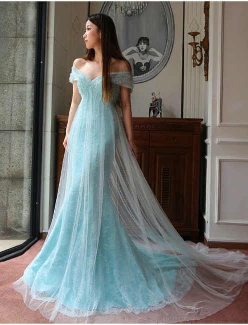 Stunning Mermaid Off-the-shoulder Prom Dress Lace Tulle Prom Dress