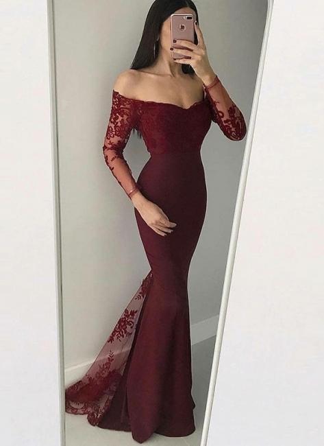 Elegant Off-The-Shoulder Mermaid Prom Dresses | Long Sleeves Lace Applique Evening Dresses