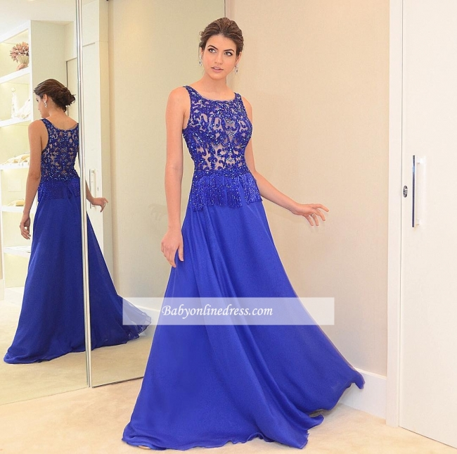 Scoop Beading Blue Chic Chiffon A-line Evening Dress