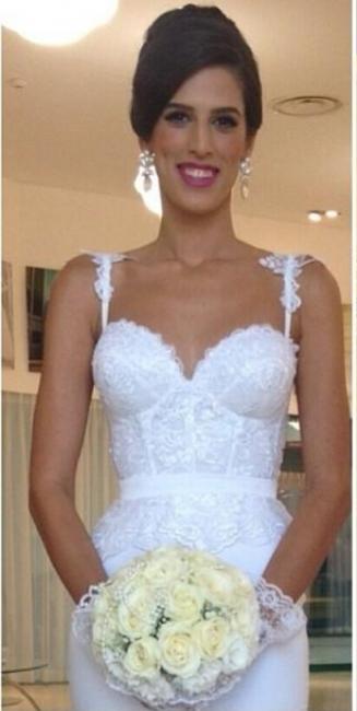 Sexy Mermaid Summer Beach Wedding Dresses | Spaghetti Straps Lace Bridal Gowns