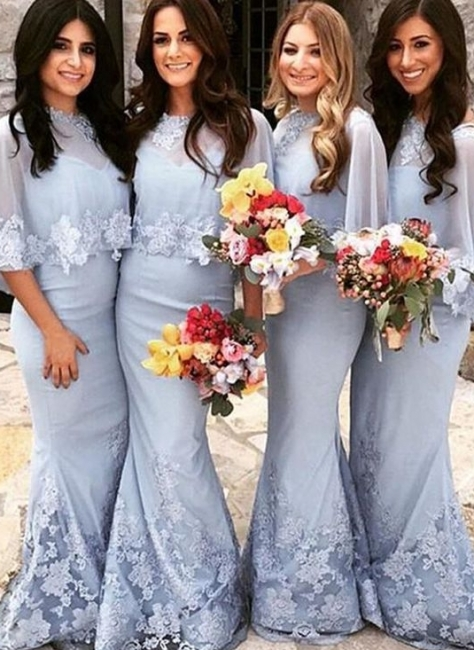Elegant Butterfly Sleeves Bridesmaid Dresses | Lace Appliques Mermaid Wedding Party Dresses
