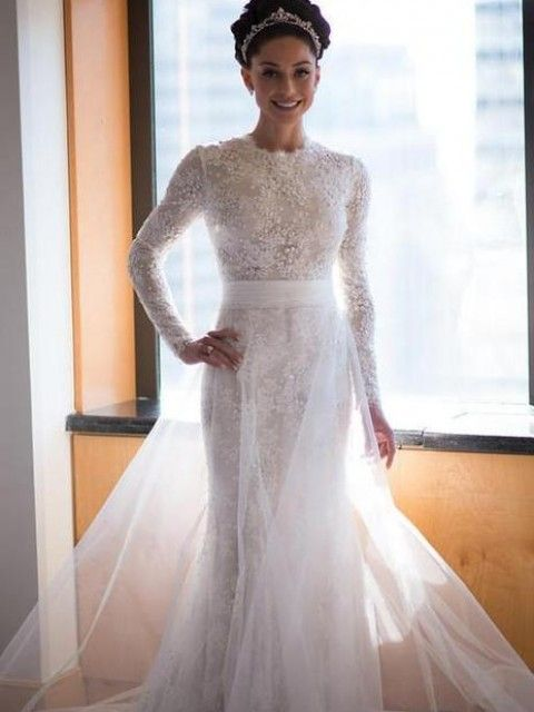 Lace Beaded Mermaid Wedding Dresses Long Sleeves with Overskirt Elegant Bridal Gowns