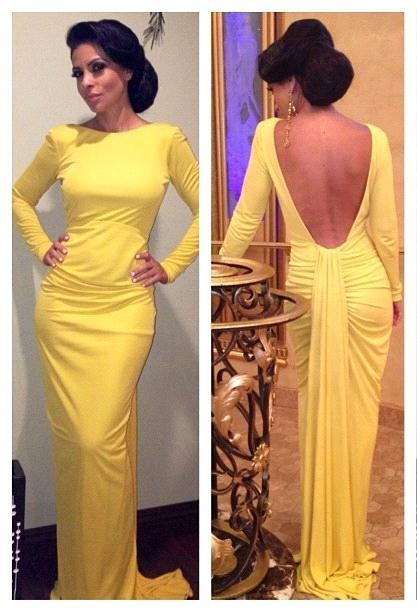Yellow Long Sleeves Sheath Evening Dresses | Sexy Open Back Prom Dresses Panel Train