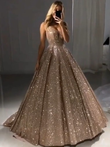 Sparkly V-neck Sleeveless Floor Length A-line Sequin Prom Dresses