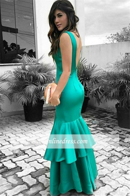 Sexy Green Open Back Cheap Sleeveless Ruffles Evening Dresses