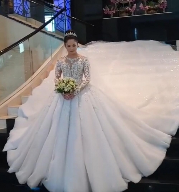 Jewel Lace Appliques Tulle Princess Ball Gown Wedding Dresses with Long Sleeves