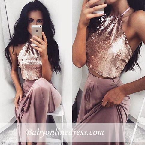 Glossy Two-Piece Halter-Neck Prom Dresses 2018 Sequins Long Sleeveless Eveving Gowns BA4434