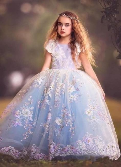 Fairy Ball Gown Flower Girl Dress | Short Sleeves Puffy Girl Formal Dress
