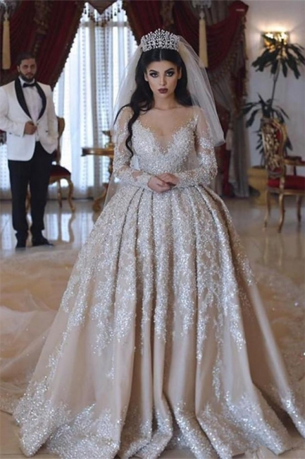 V-neck Lace Appliques Ball Gown Long Sleeves Wedding Dresses