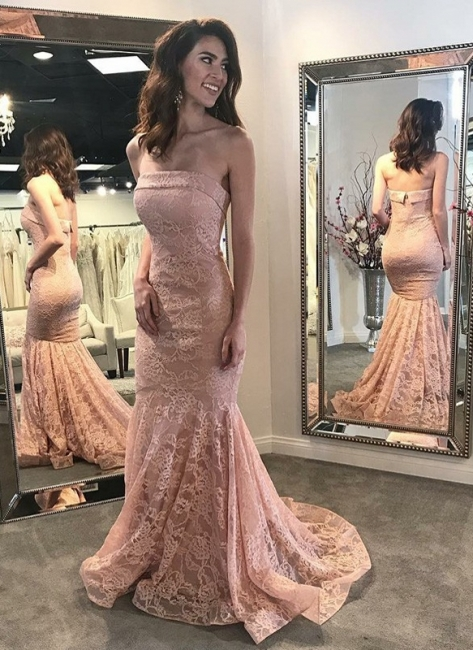 Pink Lace Mermaid Prom Dresses | Elegant Strapless Evening Dresses Sweep Train