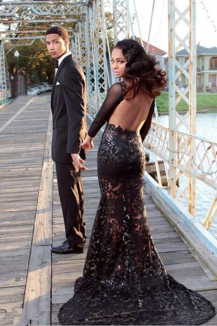 Black Mermaid Prom Dresses Long Sleeves Open Back Sheer Fabric Sexy Evening Gowns
