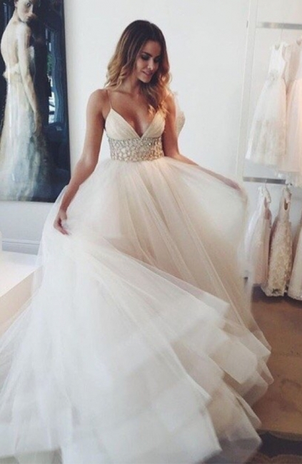 A-line Wedding Dresses Spaghettis Straps Beaded Waist Tiers Romantic Bridal Gowns