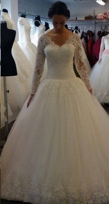 Elegant Sequins Lace Ball Long Sleeves Tulle Gown Wedding Dresses