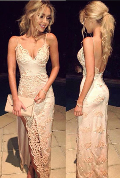 Spaghetti Straps Prom Dresses Side Slit V Neck Sequins Floor Length Sexy Evening Gowns