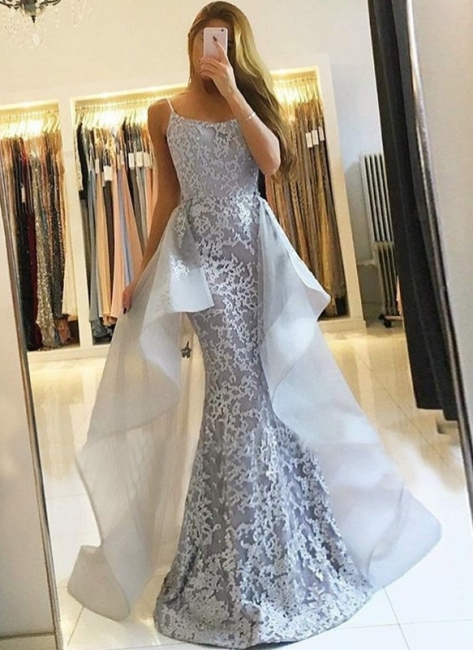 Glamorous Lace Long Prom Dresses | Strapless Over-Skirt Mermaid Evening Dresses