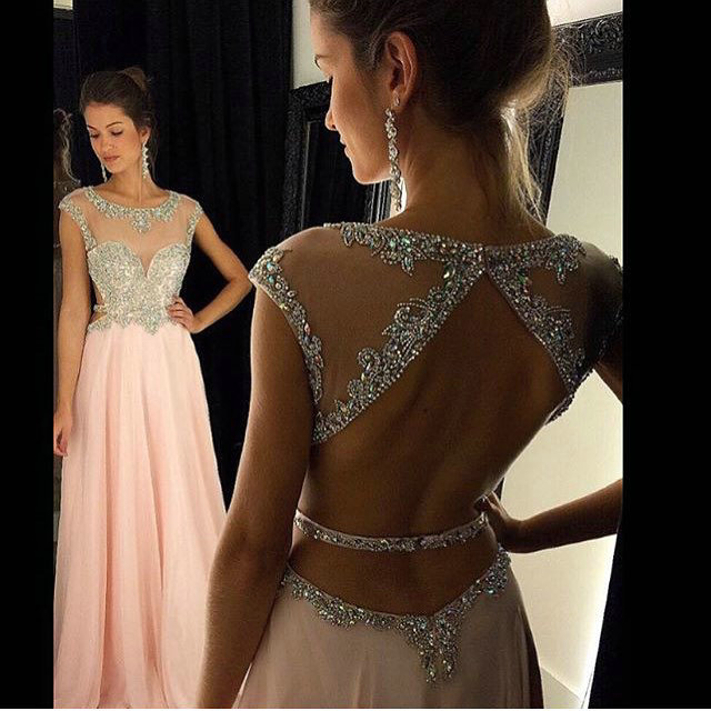 Pink Chiffon Prom Dresses Crystals Beaded Open Back Long A-line Formal Evening Gowns