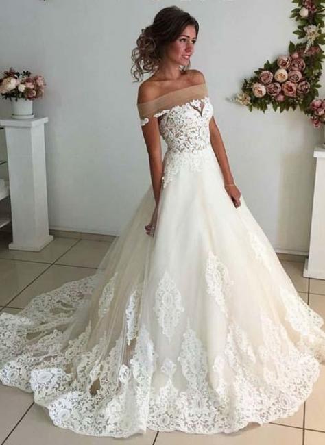 Elegant Puffy Wedding Dresses | Off-the-Shoulder Lace Appliques Bridal Gowns