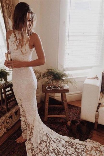 Lace Elegant Mermaid High Neck Long Wedding Dresses