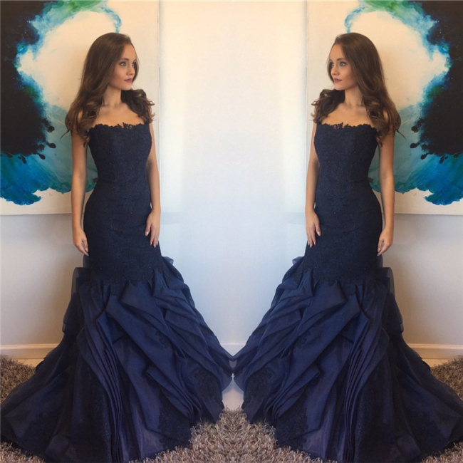 Elegant Mermaid Lace Prom Dress 2018 Ruffles Straps Evening Gowns