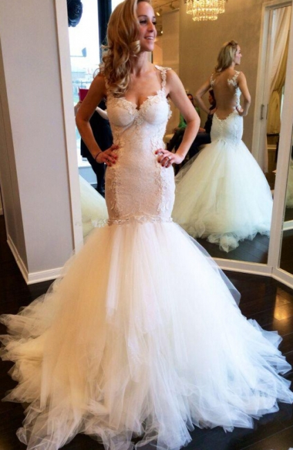 Lace Backless Sweetheart Vintage Mermaid Wedding Dresses | Straps Tulle Bridal Gown