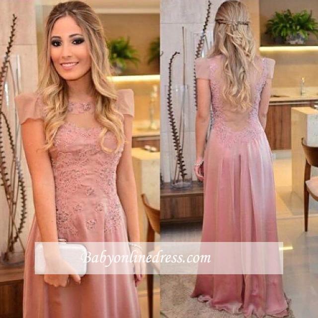 Floor-length Short-sleeves Appliques Sheath-Column Evening Dress