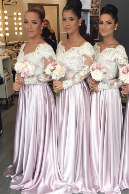 White-Lace Long-Sleeve Pink V-neck Popular Elegant Bridesmaid Dress