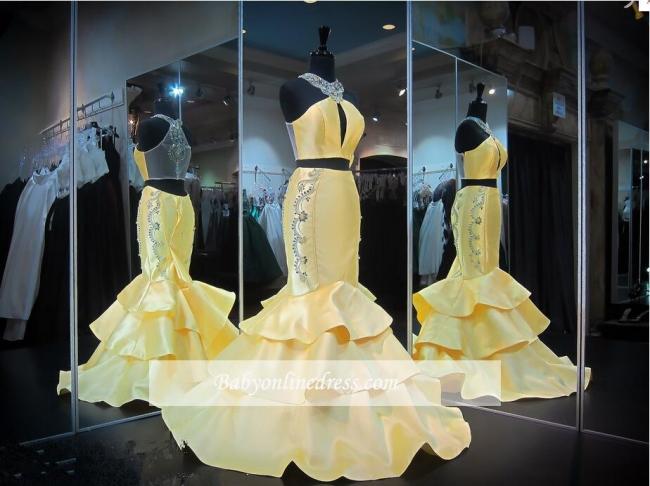Mermaid Crystals Yellow Halter Gorgeous Zipper Ruffles Sleeveless Evening Gown